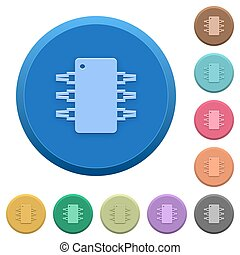 Embossed integrated circuit buttons - Set of round color...