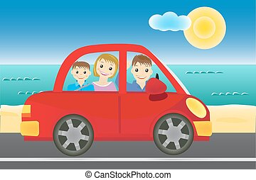 Family in the car vector