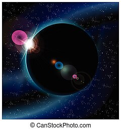 eclipse of planet - Vector illustration of eclipse of planet...