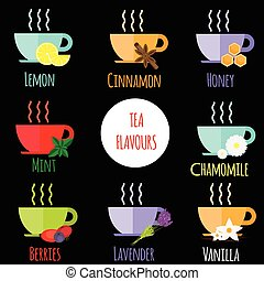 Tea flavours types. Different Tea tastes in cups. Vector...
