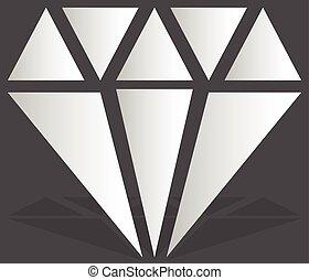 Simple diamond, jewelry sign, symbol. Precious stone, ruby...