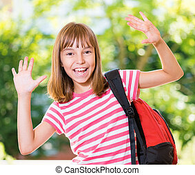 Girl back to school - Cheerful cute girl 10-11 year old...