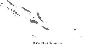 Map - Solomon Islands - Map of Solomon Islands as a dark...
