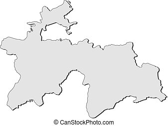 Map - Tajikistan - Map of Tajikistan, filled in gray