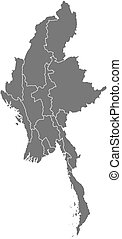 Map - Myanmar - Map of Myanmar as a dark area.