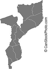 Map - Mozambique - Map of Mozambique as a dark area
