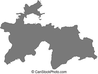 Map - Tajikistan - Map of Tajikistan as a dark area