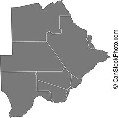 Map - Botswana - Map of Botswana as a dark area