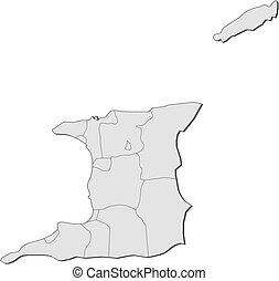 Map - Trinidad and Tobago - Map of Trinidad and Tobago with...