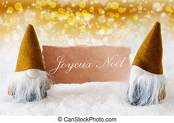 Golden Gnomes With Card, Joyeux Noel Means Merry Christmas -...