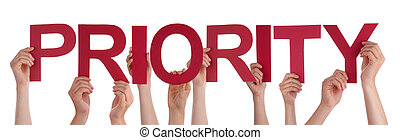 Many People Hands Holding Red Straight Word Priority