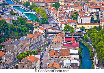 Town of Rijeka and Rjecina river view, Kvarner, Croatia