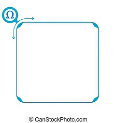 Vector blue box to fill your text and omega symbol