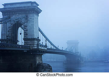 Chain Bridge in Budapest, Hungary - Suspension Chain Bridge...
