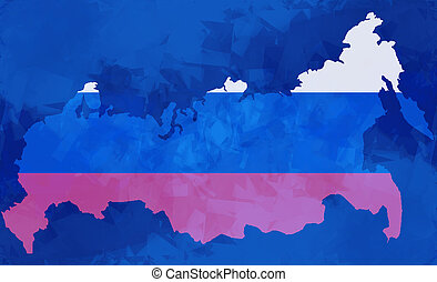 map of russia russian national flag colors background