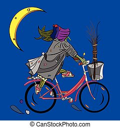 witch riding a bicycle