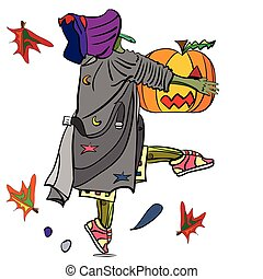 witch steals a pumpkin - vector illustration of a funny...