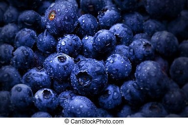 Blueberries - fresh blue blueberries macro photo water drops...