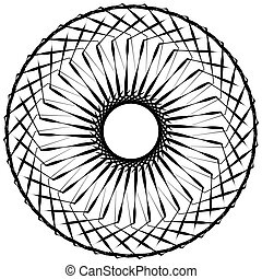 Abstract geometric spiral element with intersecting lines