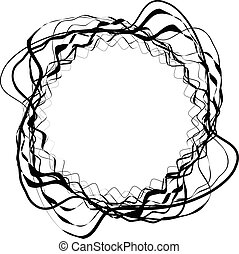 Abstract circular element with random shapes Monochrome...