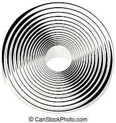 Abstract monochrome spiral, vortex with radial, radiating...