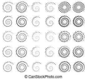 Set 30 of spiral, helix shapes, concentric, rotating elements, swooshes, curlicues