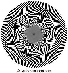 Abstract circular element Rotating radial lines with wavy...