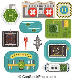 Helicopters landing vector set - Helicopter landing pad...