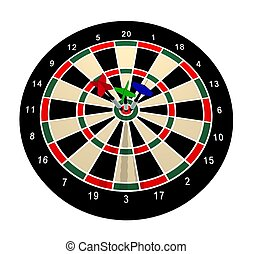 Darts - Illustrated dartboard with 3 darts in the bulls eye