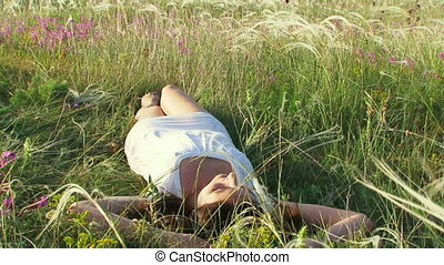 Girl resting on the nature