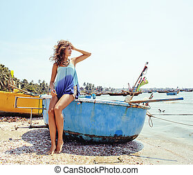 cute smiling young real woman in asian port, vietnam...