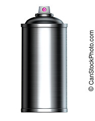 brushed metal graffiti spray can on a white background