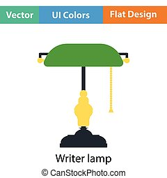Writer's lamp icon. Flat color design. Vector illustration.