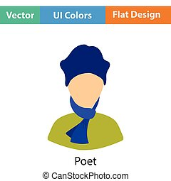 Poet icon. Flat color design. Vector illustration.