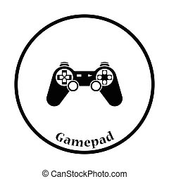 Gamepad icon Thin circle design Vector illustration