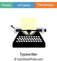 Typewriter icon Flat color design Vector illustration