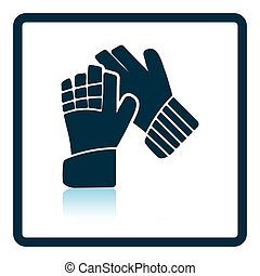Icon of football goalkeeper gloves Shadow reflection design...