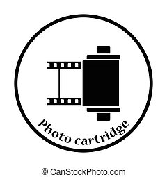 Photo cartridge reel icon Thin circle design Vector...