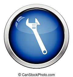 Icon of adjustable wrench. Glossy button design. Vector...