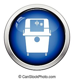 Icon of vacuum cleaner. Glossy button design. Vector...