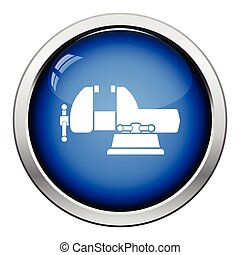 Icon of vise. Glossy button design. Vector illustration.