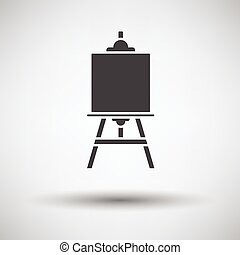 Easel icon on gray background, round shadow Vector...