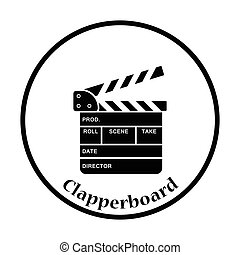 Clapperboard icon. Thin circle design. Vector illustration.