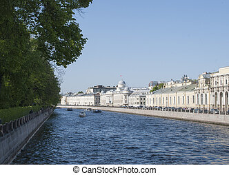 Embankment of the Fontanka River in Saint Petersburg, Russia...