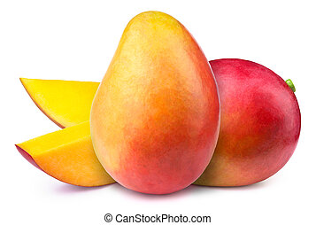 Mangoes with slices isolated - Two mangoes with slices...