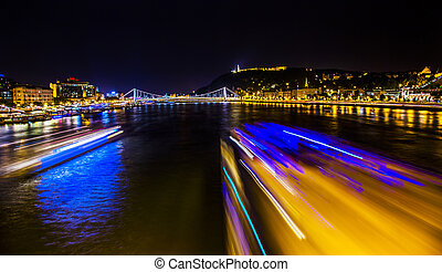 Cruise Boats Danube River Passing Under Chain Bridge Night...