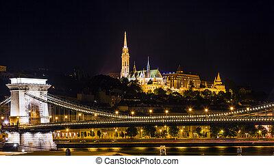 Chain Bridge Matthias Church Night Budapest Hungary - Chain...