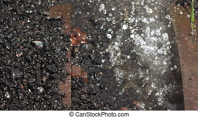 Leaking water pipe - Most flowing metal pipe slag thermal...