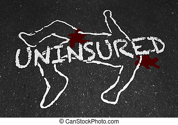 Uninsured Medical Insurance Accident Injury Chalk Outline...