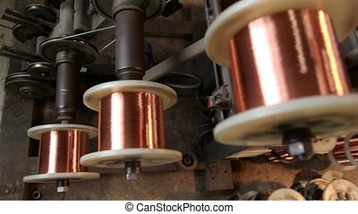 Production of copper wire. Close up - Production of copper...